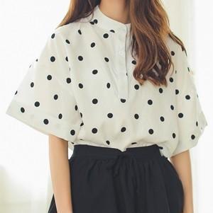 【即納♡】dot chiffon shirt 6331