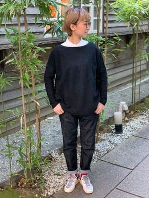 WOMENS:LILOU+LILY【リルアンドリリー】PATCHWORK JACQUARD BOAT NECK  PULLOVER(ブラック/ワンサイズ展開 38)パッチワークジャガード、ボートネックプルオーバー