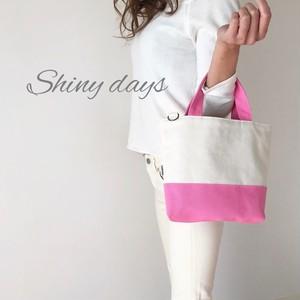 春カラー♡ショルダー付き♡帆布のトートバッグ 生成り×ピンク