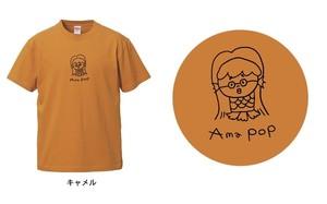 """【最終生産!】アマビエ×@なおポップ=""""Ama pop""""Tシャツ(キャメル)"""