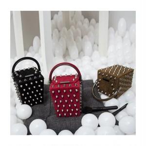 【お取り寄せ】コーンスタッズ ボックスバッグ ミニバッグ 箱型バッグ チェーンバッグ