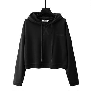1009レディーストップス ヒップホップダンスウェア ダンス衣装 長袖 ショート丈 パーカー 無地 ゆったり ブラック 黒