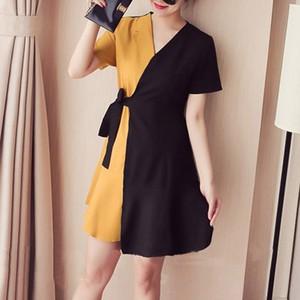 【ワンピース】プラスサイズファッション配色切り替えVネックAラインワンピース18554943