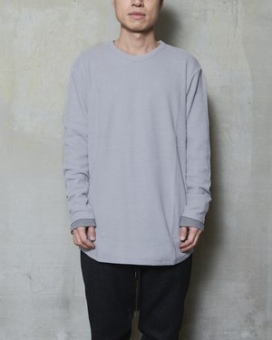 T/f loose fit waffle long sleeve top - soot