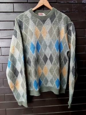 Mohair Argyle Patterned Sweater Knit モヘア アーガイル セーター ニット