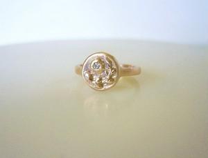植物とダイヤの小さな指輪(K10)