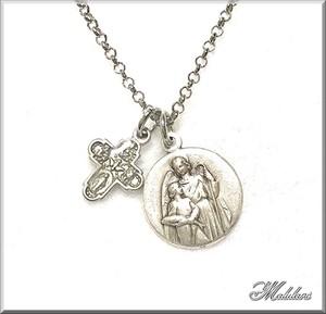 大天使ラファエル S メダイ&フォー・ウェイ・クロス 十字架 ペンダント