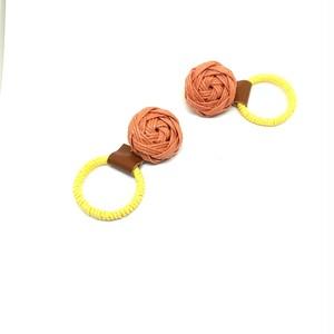 花結びボタンのイヤリング 2wayタイプ