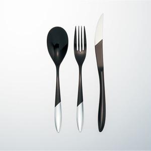 KOKU 木曽漆器のカトラリー:麗(れい)3本セット 黒