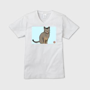 メンズVネックTシャツ 【モヒカン 緑学年】にゃんこ学園