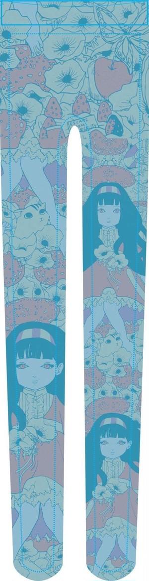 柄タイツ【花と猫と少女】