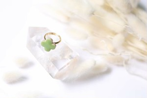 089-r 伝統文化品美濃焼多治見四つ葉タイル指輪・リング(フリーサイズ) ※証明書付