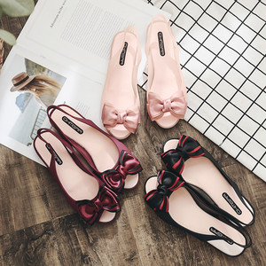 【sandal】2018 summer new bow  comfortable flat  candy color flat sandals