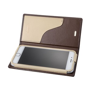 GRAMAS Full Leather Case スマホ堂 Limited for iPhone6s/6 Brown×Cream×Light Blue