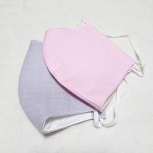 【送料込み】大人サイズ 布マスク カバー オリジナルクリエイター作品スクエア地模様グレー、ピンク