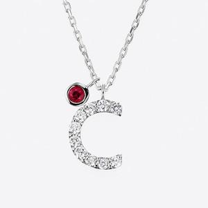 Initial K18WG Diamond【C】Pendant Necklace with Charm (ダイヤモンド イニシャル【C】ペンダントネックレス チャーム付き)