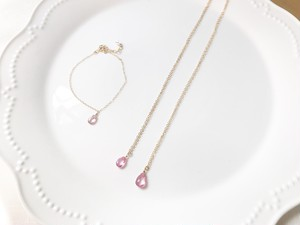 14kgf pink topaz necklace