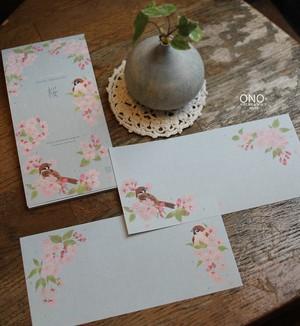 桜に雀 一筆箋