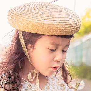 «sold out» kids straw beret hat   レースと麦わらのベレー帽