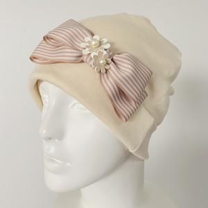 オーガニックコットン ストライプリボンとお花のケア帽子 アイボリー