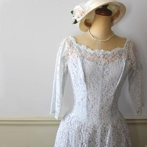 Vintage ペールブルーの50s総レースドレス