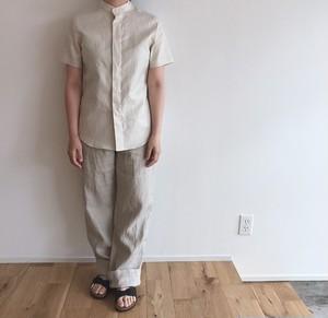 niuhans  Lightweight Linen Fly-front Stand Collar S/S Shirt