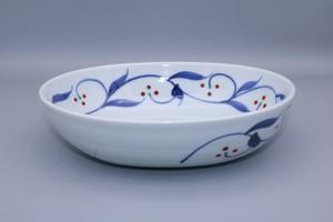 砥部焼 だ円鉢(中) 千山窯 上絵三ッ紋
