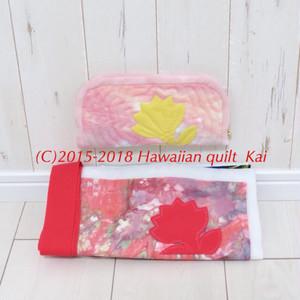 レフア きれいなむら染め(c)でハワインキルトペンシルケースを作りましょう。ポーチでもok Kaiオリジナルキットで作るハワイアンキルト