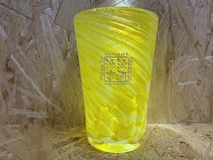 涼夏一口ビア  黄色 源河源吉琉球ガラス