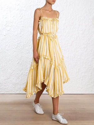 Frill stripe dress(yellow)