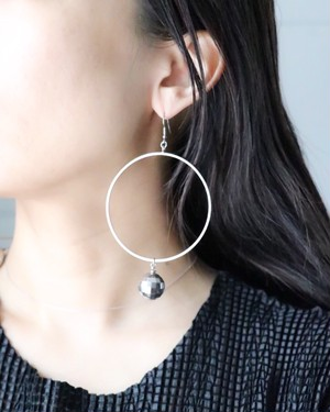mirror ball hoop earrings