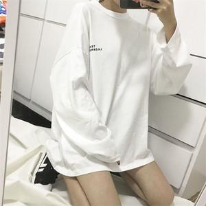 【トップス】学園風個性的なカジュアルロング無地長袖Tシャツ18641575