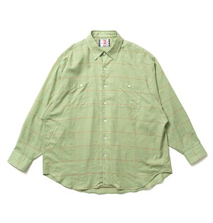 【SON OF THE CHEESE】Big Plaid Shirt-GREEN,PURPLE-