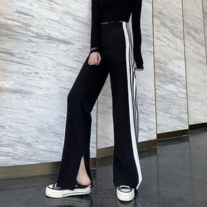 ストリート系 パンツ イージーパンツ 病みかわいい サイドライン スリット 韓国ファッション 秋冬 原宿系 10代 20代