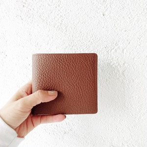 Leather small wallet : camel