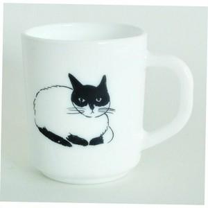 マグカップ|MilkGlass アニマル 松尾ミユキ 【日本製】|hedgehog / cat