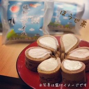 【単品】おせんべいアイス(福知山アイス) ほうじ茶flavor