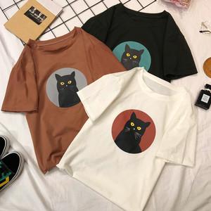 【tops】Tシャツゆったり猫柄合わせやすいカジュアル