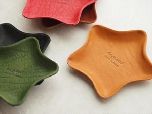 スターレザートレイ ヌメ革の可塑性を活かした星型レザートレイ