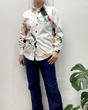 1980s MADE IN USA ROCKY MOUNTAIN paint pattern long sleeve cotton deign shirt 【XS】