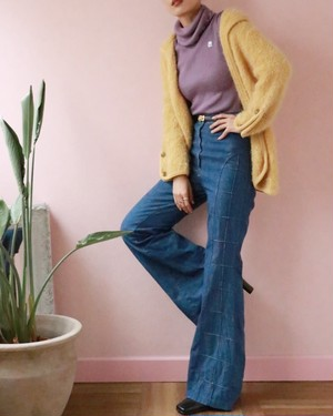 side quilting denim buggy pants