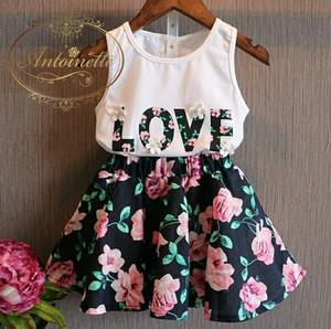 LOVEプリント キッズ 花柄 スカート Tシャツ セットアップ キッズ キッズファッション 子供用 子供服 おんなのこ