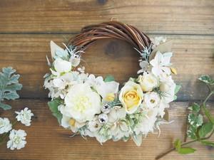 Lune Bonheur blanc chic*上品ホワイトのボタニカルハーフリース*プリザーブドフラワー・お花・ギフト
