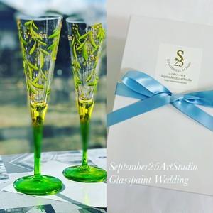 【ミモザ】ミモザシャンパングラス1つ(手描きガラス絵付け)/母の日ギフト・誕生日プレゼント・結婚祝い・退職祝い・乾杯グラス・結婚式両親への贈呈品・親ギフト