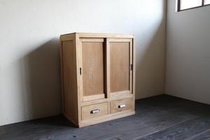 板引戸の収納棚 引出し付き キャビネット 古家具