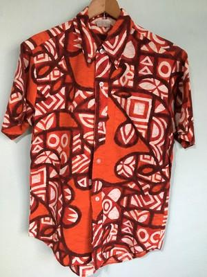 ハワイ製 ビンテージ Le hua ボタンダウン コットン ハワイアンシャツ アロハ 60s 70s OLD