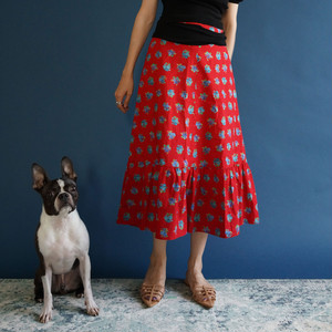 70's-80's Red floral skirt(70年代〜80年代 花柄 スカート)