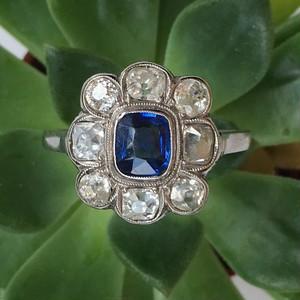 Sapphire & Old cut Diamond Edwardian Ring