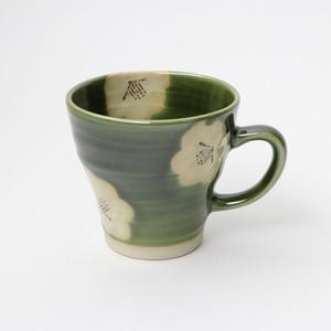 【SL-0074】磁器 マグカップ グリーン×白 椿