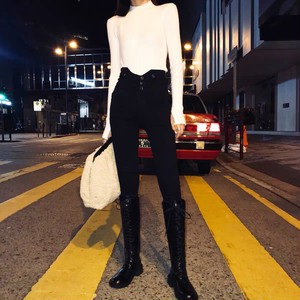 waist cut skinny pants